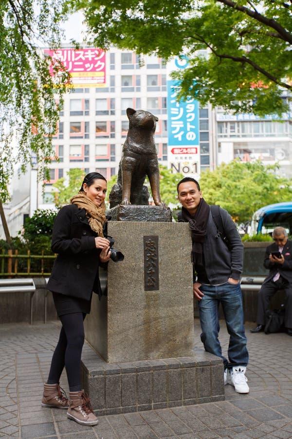 Statue von Hachiko - Shinjuku, Tokyo, Japan stockbild