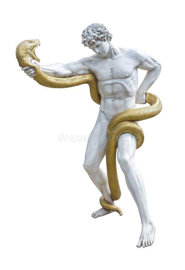Statue von Heracles kämpfend mit einer riesigen Schlange lokalisiert auf weißem Hintergrund stockfotos