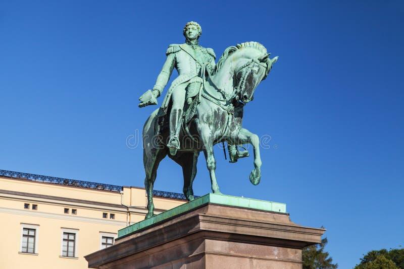 Statue von König Karl Johan in Oslo lizenzfreie stockfotografie