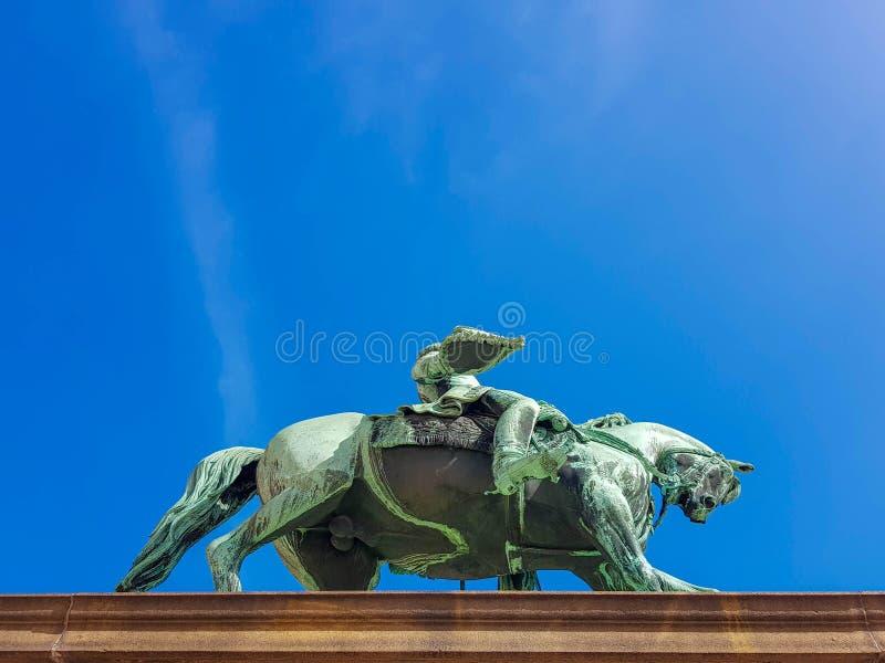 Statue von König Karl Johan vor Royal Palace, Oslo, Norwegen lizenzfreie stockbilder