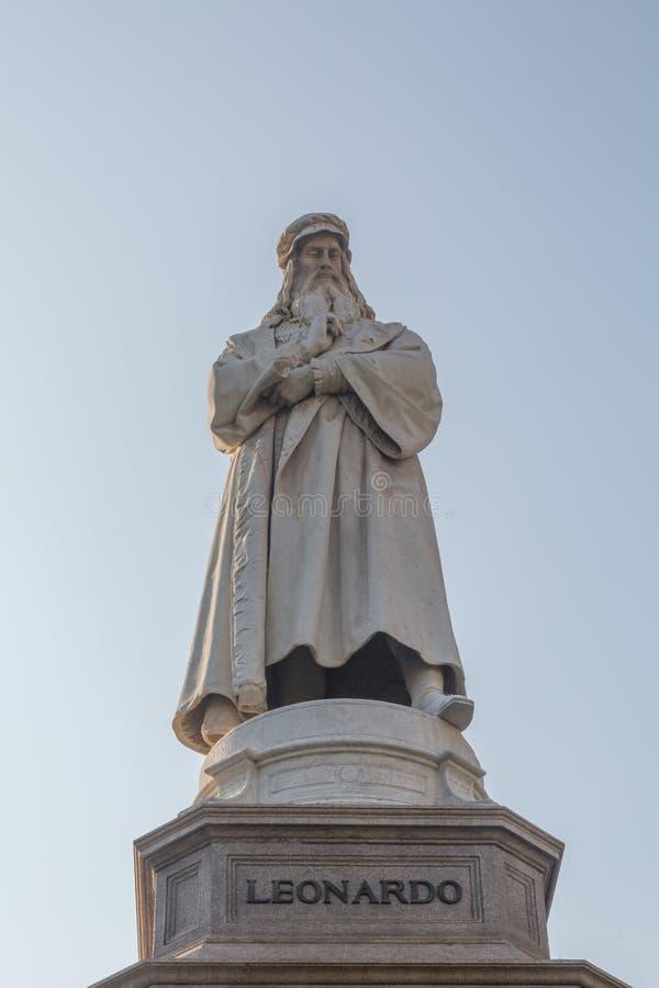 Statue von Leonardo Da Vinci stockfoto