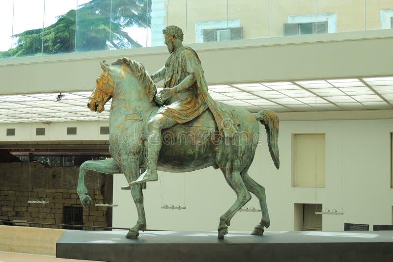 Statue von Marcus Aurelius, Rom stockfotos