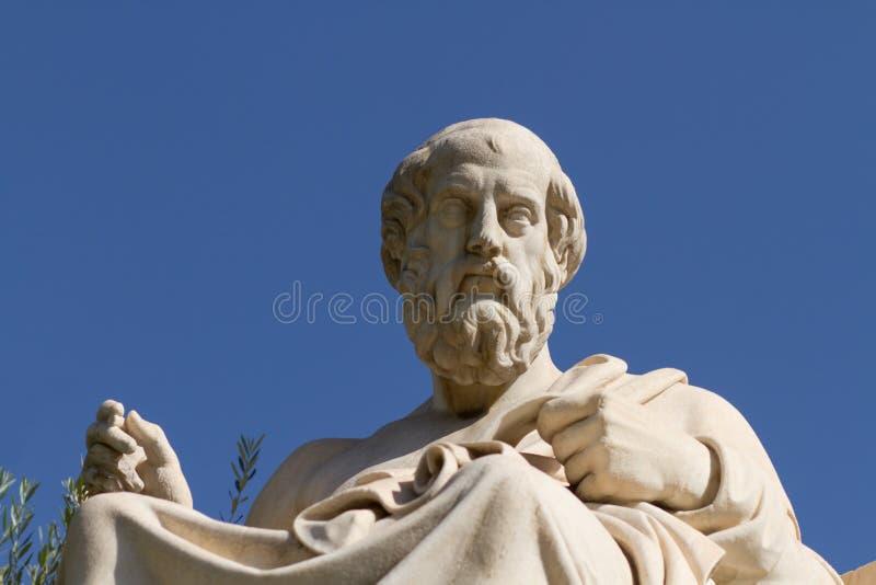 Statue von Plato in Griechenland stockbild