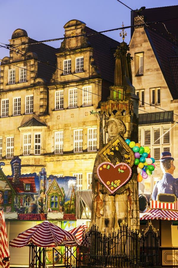 Statue von Roland auf Bremen-Marktplatz stockbild