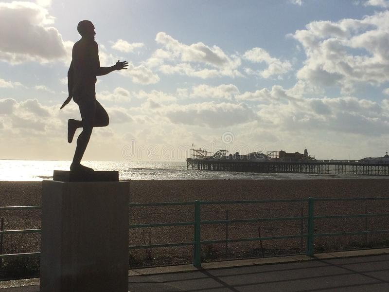 Statue von Steve Ovett auf Brighton Seafront stockfotografie