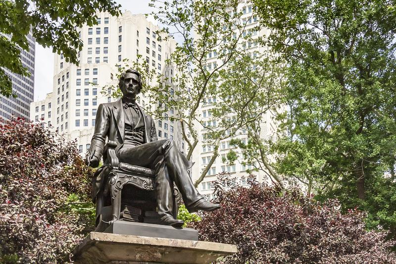 Statue von William H Seward in Madison Square Park, New York, USA stockbilder