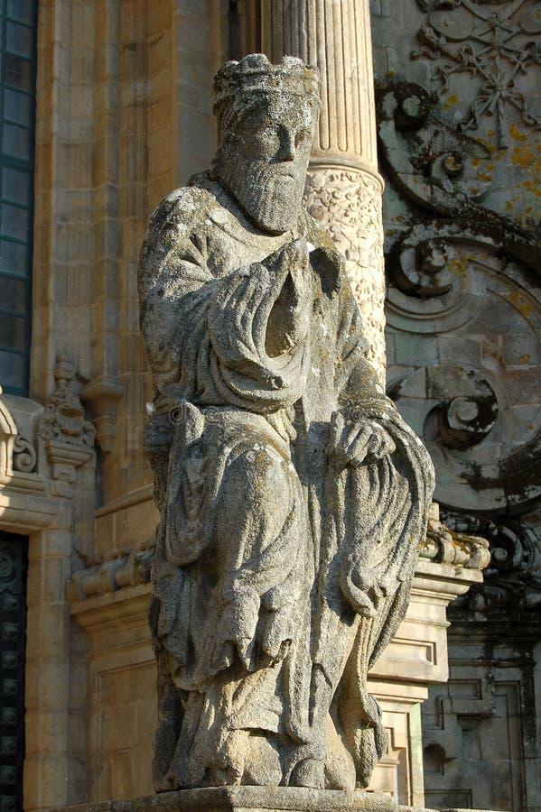 Statue vor dem Gloria-Portal - Santiago de Compostela lizenzfreies stockfoto