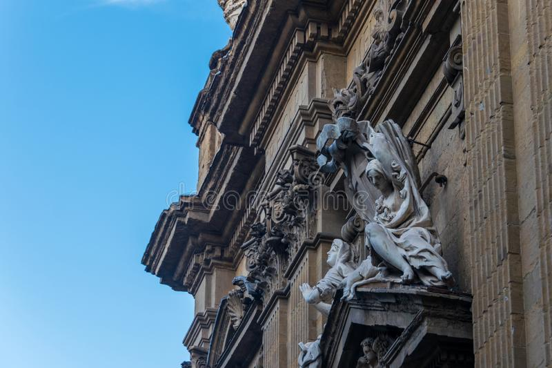 Statue on the wall of the church of Saints Michael and Cajetan, Florence, Italy stock photo