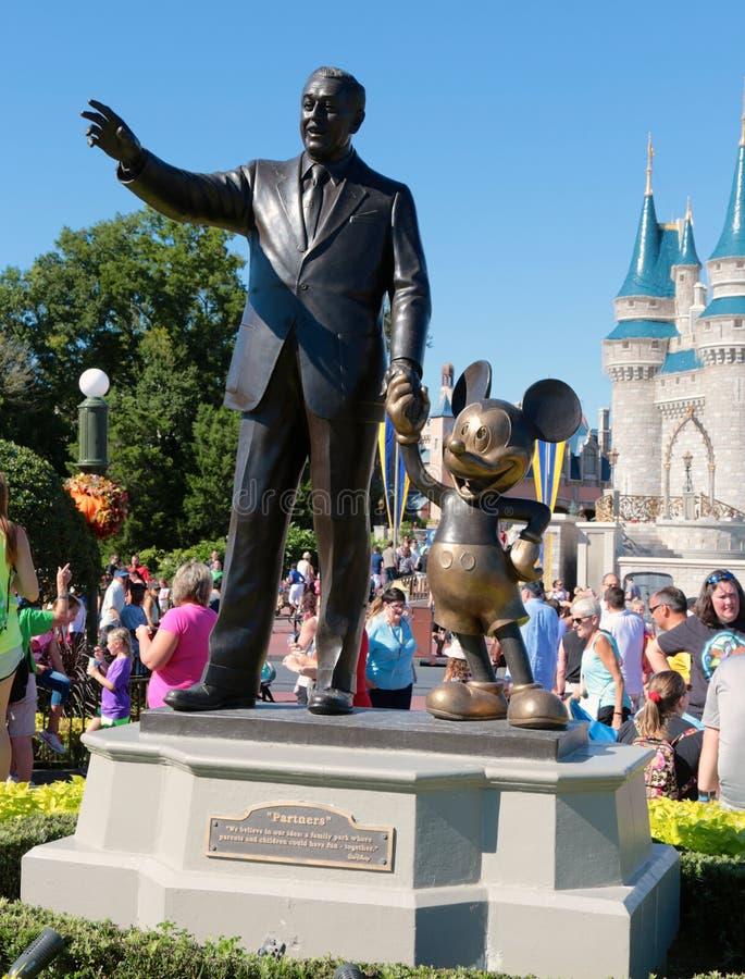 Walt Disney at the Magic Kingdom. Statue of Walt Disney and Mickey Mouse at Disneyworld's Magic Kingdom stock image
