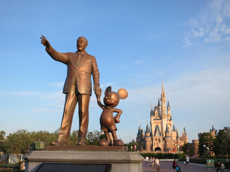 Statue of Walt Disney and Mickey Mouse stock photo