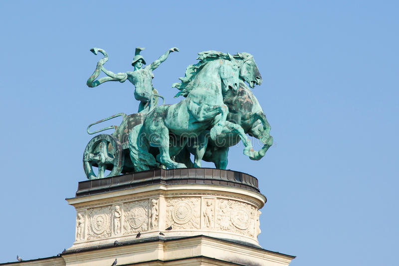 Statue of War on Heroes Square in Budapest, Hungary royalty free stock photo