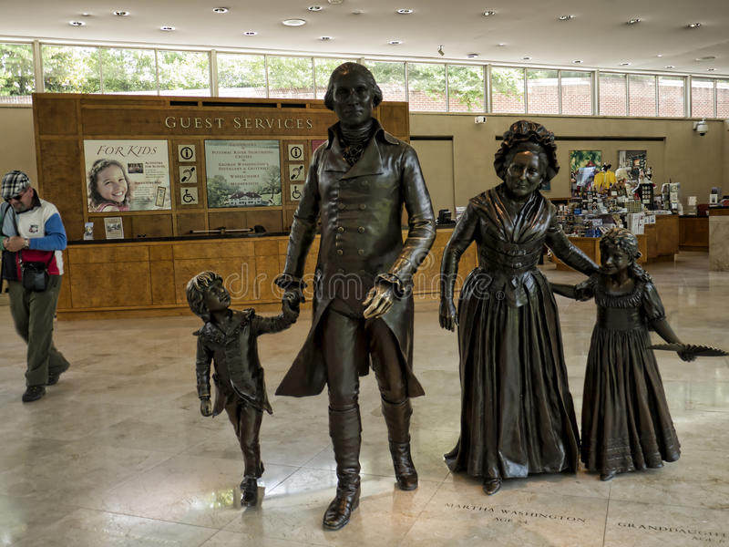 Statue of Washington and his family at Mount Vernon was the plantation home of George Washington royalty free stock images