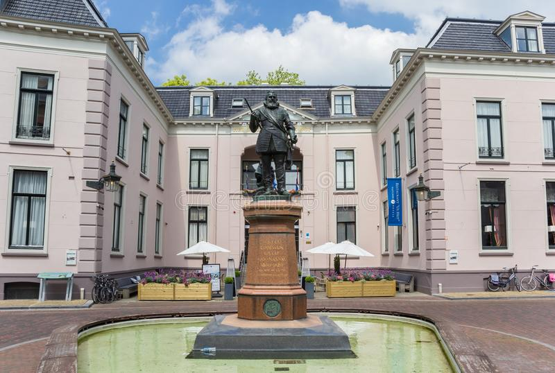 Statue of Willem Lodewijk in the center of Leeuwarden stock photography