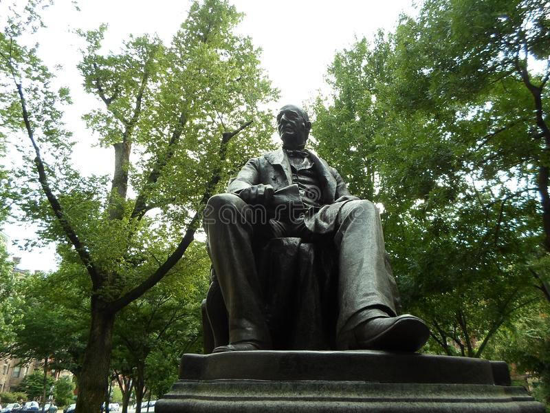William Lloyd Garrison Statue, Commonwealth Avenue Mall, Boston, Massachusetts, USA. Statue of William Lloyd Garrison, located on Commonwealth Avenue between stock photo