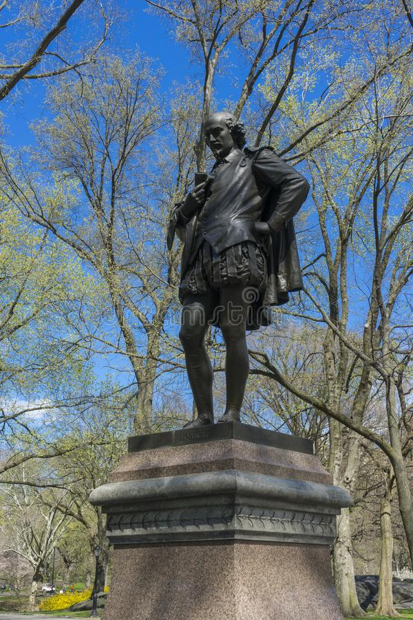 Statue of William Shakespeare by the American sculptor John Quincy Adams Ward was erected in the Central Park. In 1872 royalty free stock images