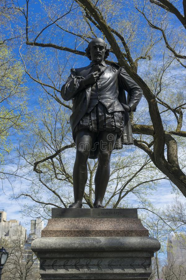 Statue of William Shakespeare by the American sculptor John Quincy Adams Ward was erected in the Central Park. In 1872 stock image