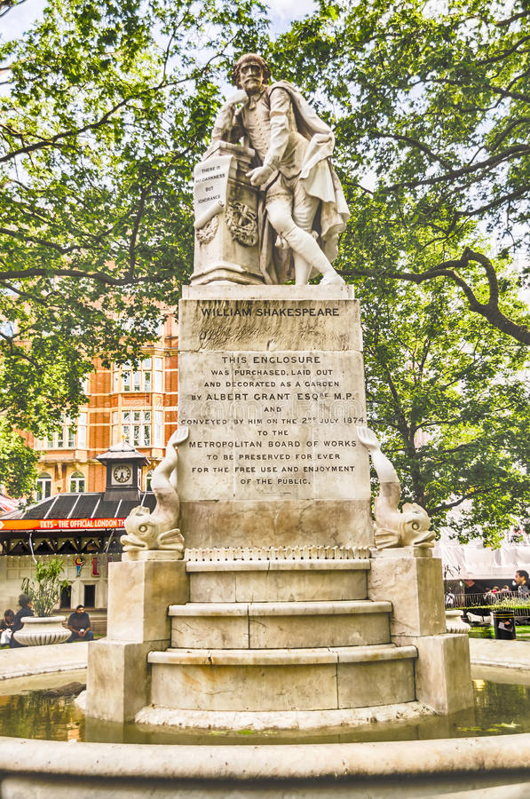 Statue of William Shakespeare in Leicester Square, London. UK stock photo