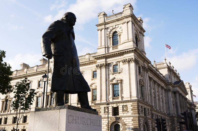 Statue of Winston Churchill, British Prime Minister in 18. September 2018. London royalty free stock images