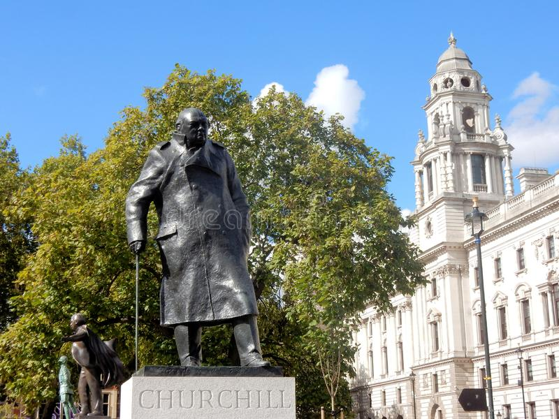 Statue of Winston Churchill, London, bronze sculpture of the former British prime minister stock photos