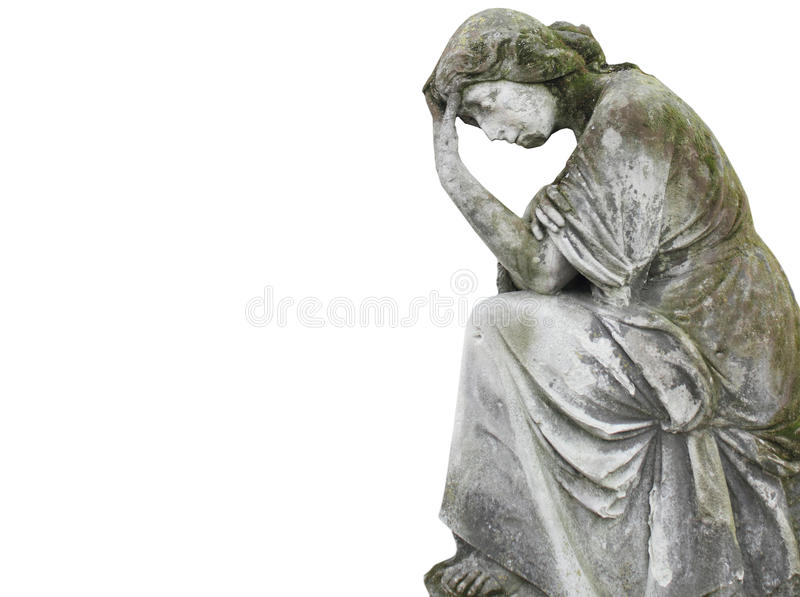 Statue Of Woman As A Symbol Of Depression On White Background S