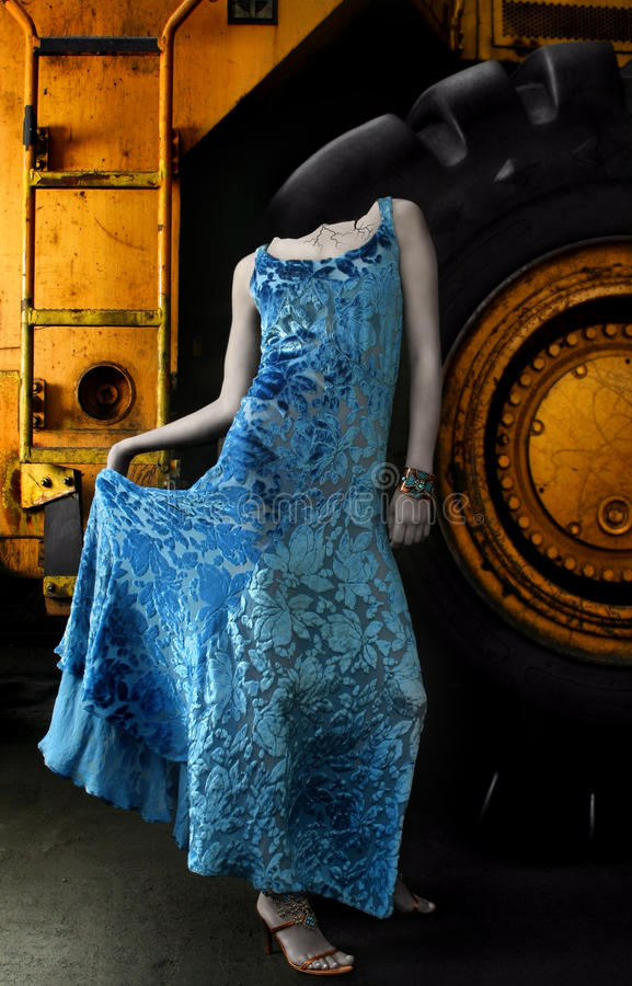 Statue woman in blue dress royalty free stock photography
