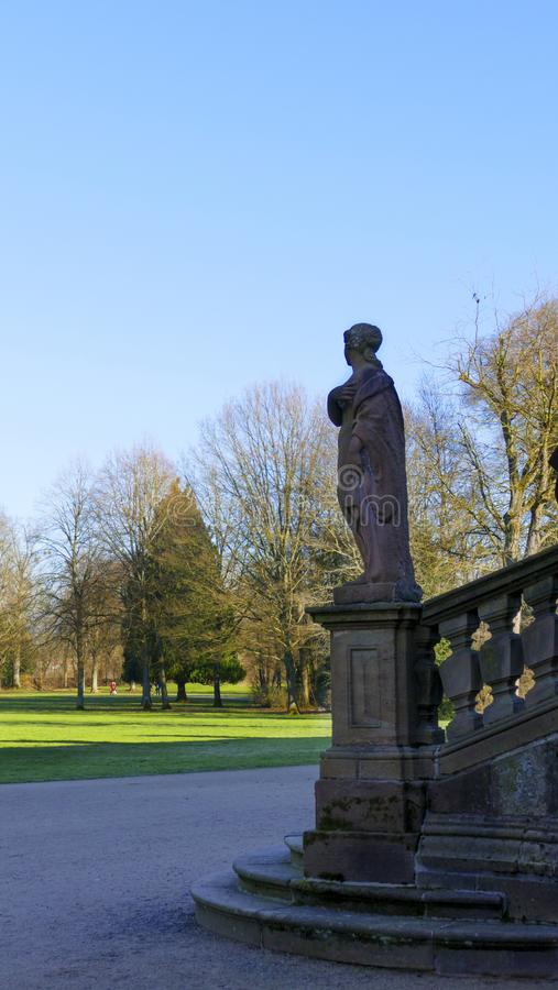 Statue, woman of stone, in the castle Favorite, Foerch the public park stock photography