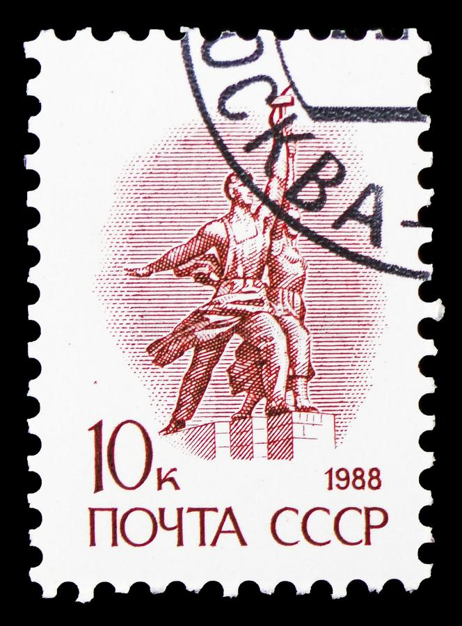 Statue \'The worker and the collective farmer\' by Vera Mukhina, Definitive Issue No. 13 serie, circa 1988. MOSCOW, RUSSIA - FEBRUARY 20, 2019: A stamp printed stock image