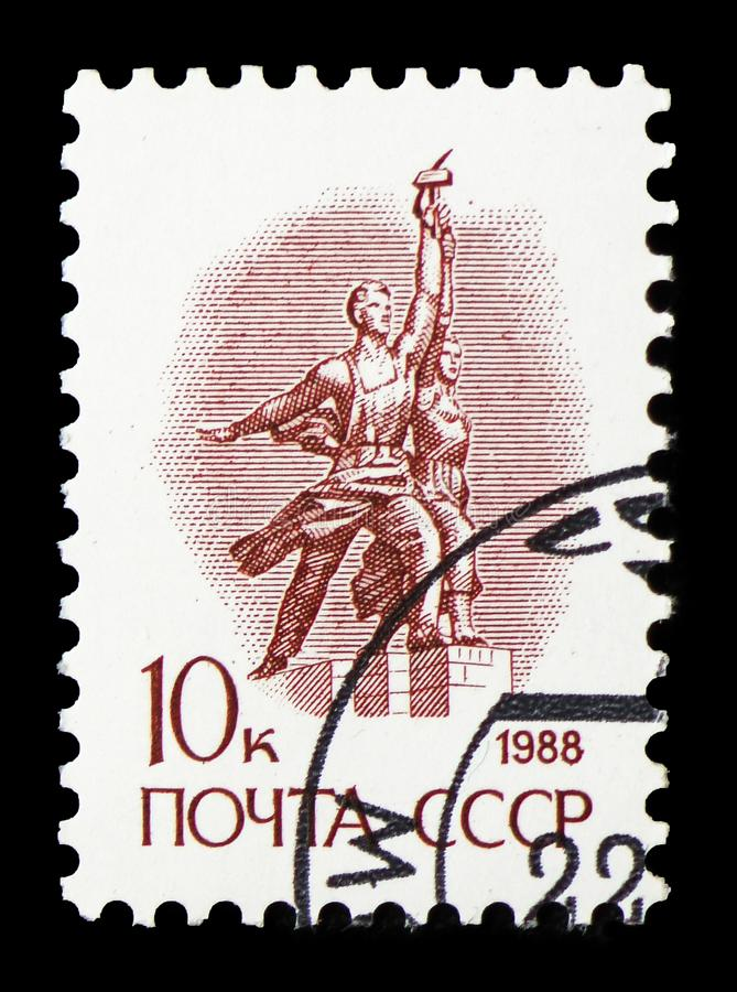 Statue `The worker and the collective farmer` by Vera Mukhina, Definitive Issue No. 13 serie, circa 1988. MOSCOW, RUSSIA - FEBRUARY 22, 2019: A stamp printed in royalty free stock photography