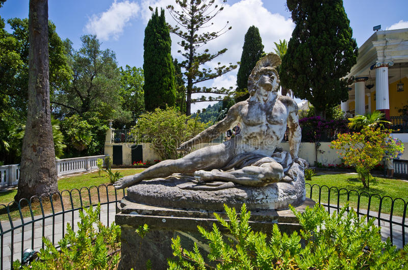 Statue of Wounded Achilles, Corfu, Greece stock photos
