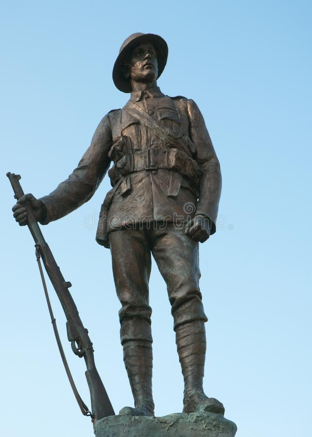 WWI Soldier Winchester. Statue of a WWI soldier in Winchester - Kings Royal Rifle Corps Memorial. Bronze statue in Cathedral Close, Winchester, hampshire, UK by stock images