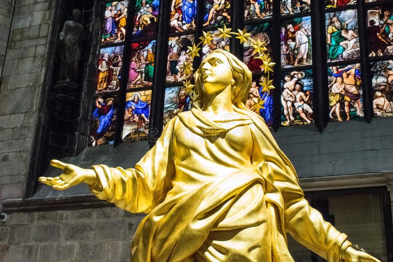 Statue, Yellow, Stained Glass, Religion Free Public Domain Cc0 Image