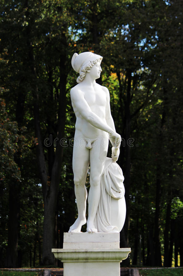 Statue of the young Mars, Lower Dutch Garden Park Gatchina Palace Russia. Statue of the young Mars, Lower Dutch Garden Park Gatchina Palace Russia royalty free stock images