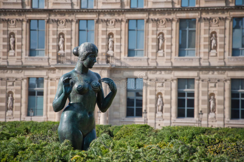 Statue of young naked woman on the Champs Elysees. Paris, France royalty free stock photography