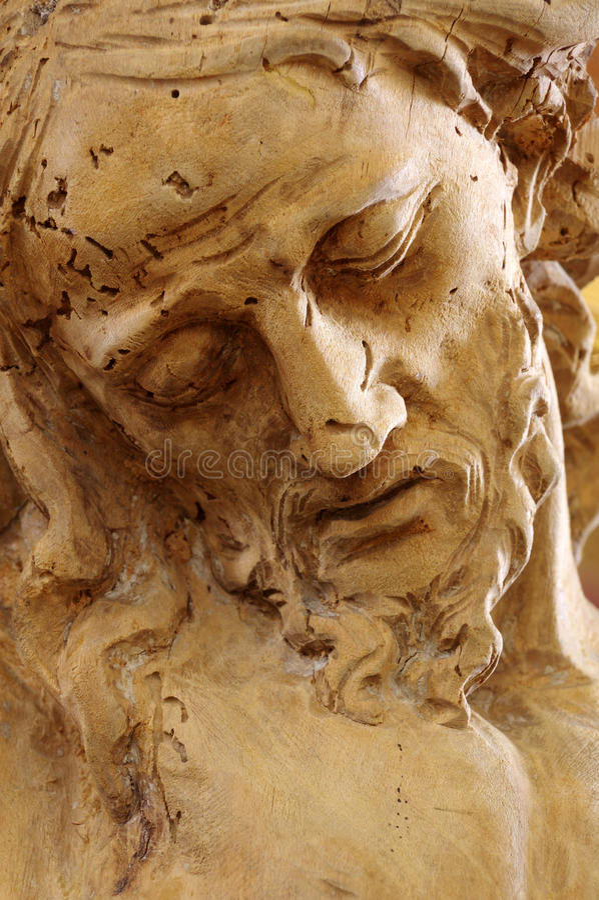 Statuen-Porträtdetail Christus hölzernes stockfotografie