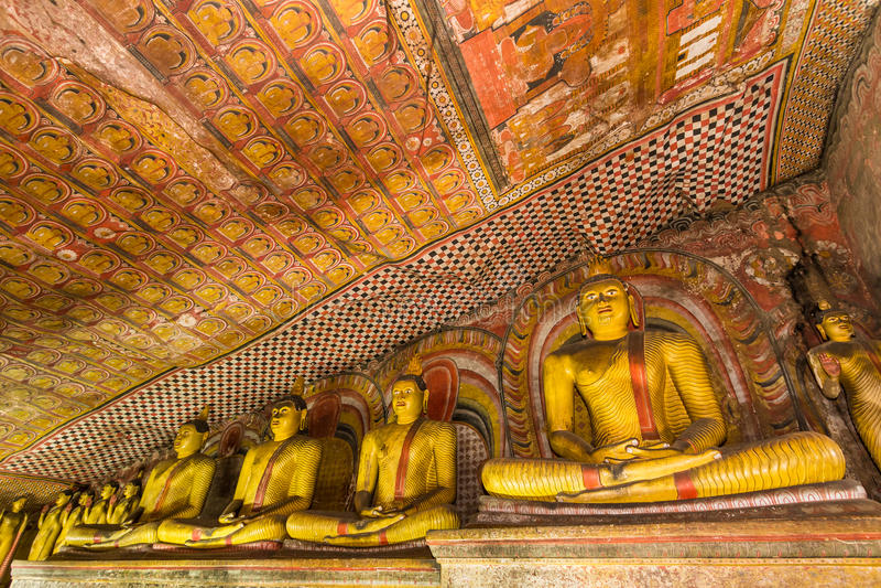 Statuen von Buddha, Dambulla-Höhlen-Tempel, Sri Lanka lizenzfreies stockfoto