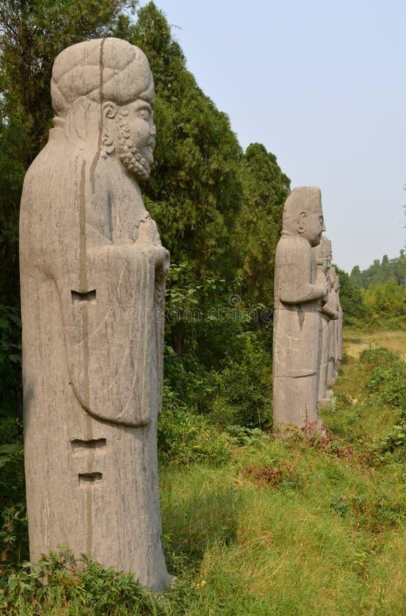 Statuen von Würdenträgern, Song-Dynastie-Gräber, China stockfotos