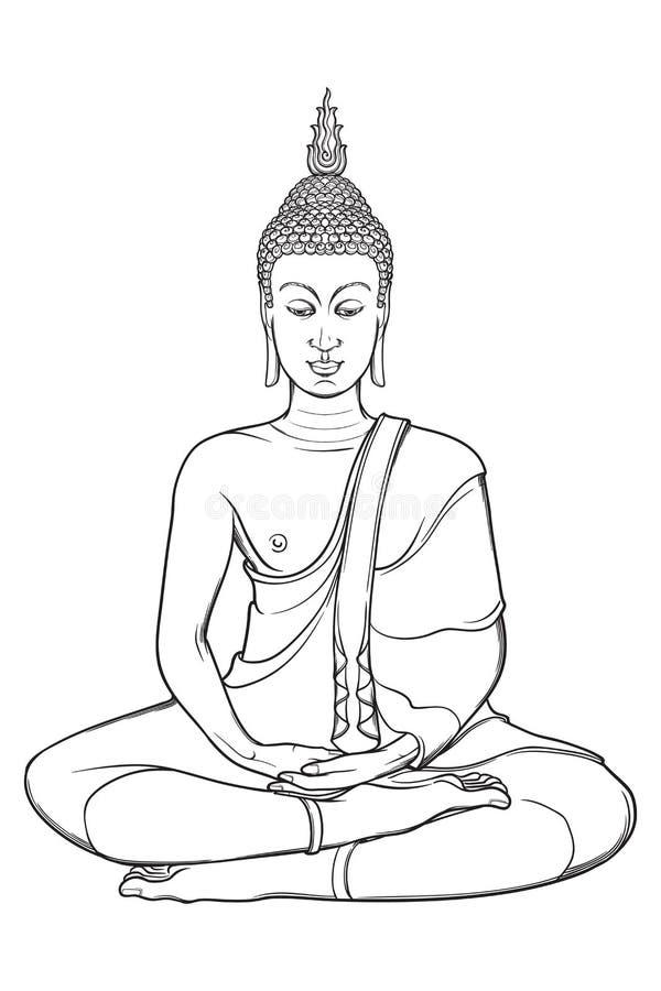 Statueofzitting Boedha die in de enige lotusbloempositie mediteren Ingewikkelde die handtekening op witte achtergrond wordt geïso royalty-vrije illustratie