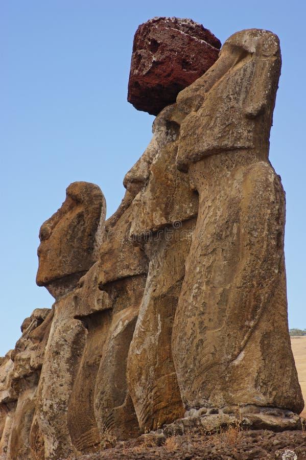 Statues à l'île de Pâques image libre de droits