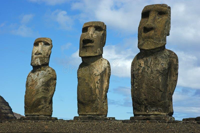 Statues à l'île de Pâques photos libres de droits