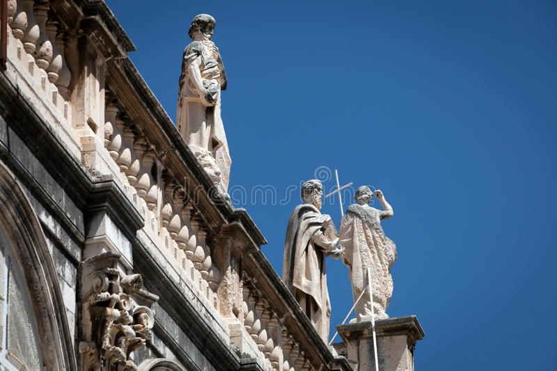 Statues. Detail of statues on a roof church. Dubrovnik Old Citadel, Croatia stock photography