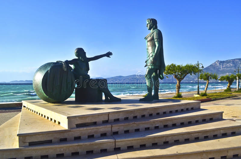 Statues of Alexander the Great and the greek filosopher Diogenes stock photo