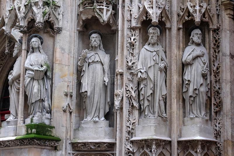 The statues of the Apostle on the portal of the Saint Merri Church, Paris. France royalty free stock photos