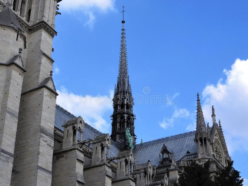 Statues of the apostles on the roof of Notre Dame, the approach of fragments. Paris France, UNESCO world heritage site royalty free stock photos
