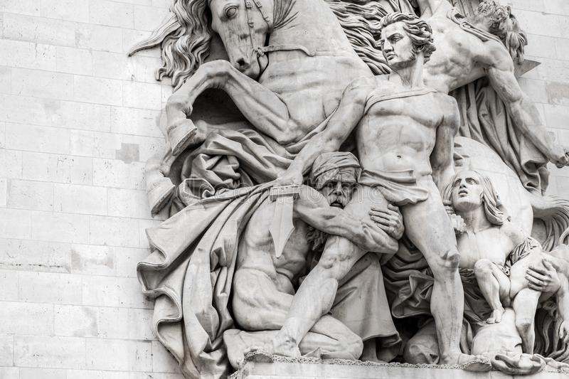 Statues on Arc de Triomphe royalty free stock photos