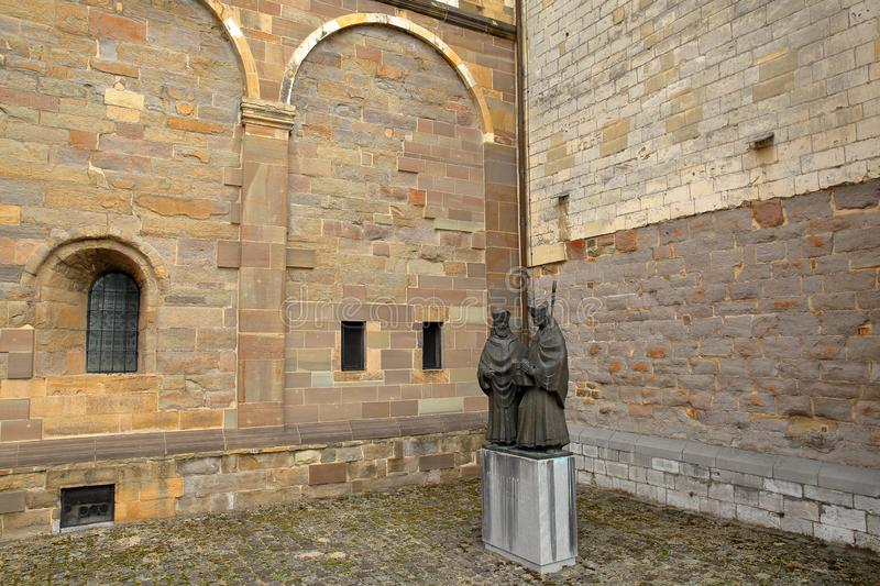 Statues of bishops Monulphus and Gondulphus, located in a courtyard at the external Southern side of basilica of Saint Servatius. Statues of bishops Monulphus stock image