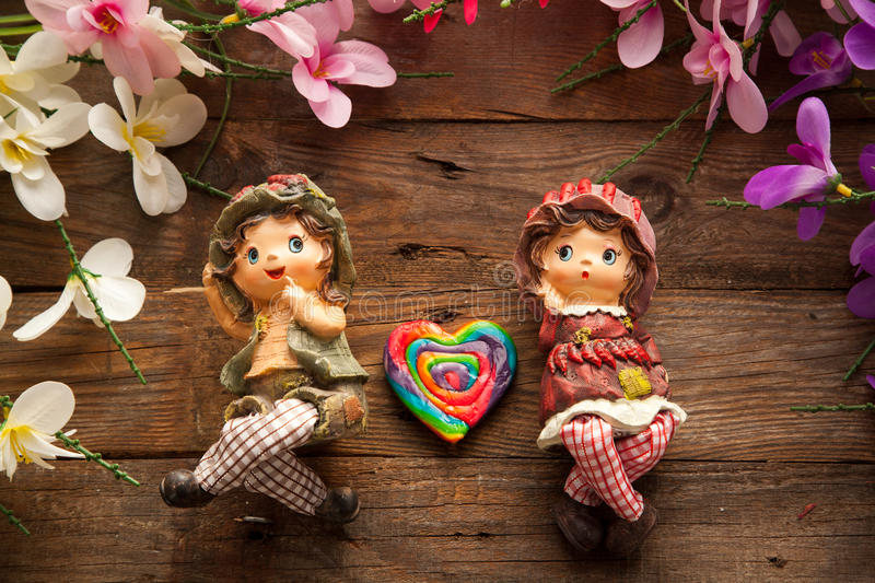 Statues of boy and girl in love. stock image