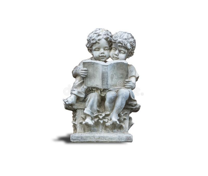 Statues of boys and girls reading books.For the decorations in various locations.isolated on white background royalty free stock photos