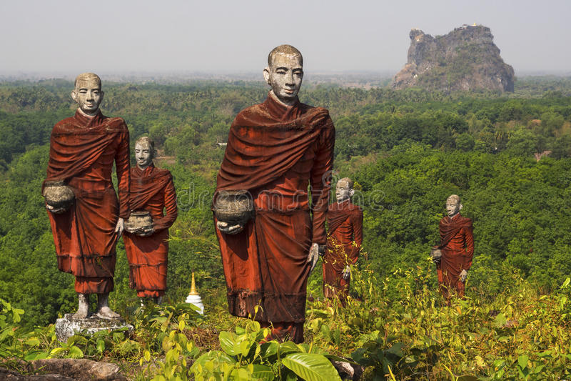 Statues of Buddhist Monks in Mawlamyine, Myanmar stock photography