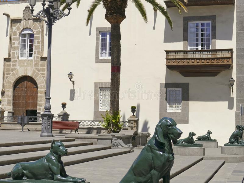 Statues, canary dogs, Plaza Santa Ana, Vegueta, old town of Las Palmas, Las Palmas de Gran Canaria, Gran Canaria, Canary Islands. Spain stock photo