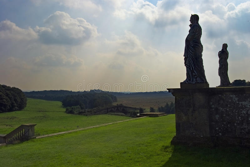 Statues Castle Howard Yorkshire. Silhouette of statues on wall Castle Howard stock photos